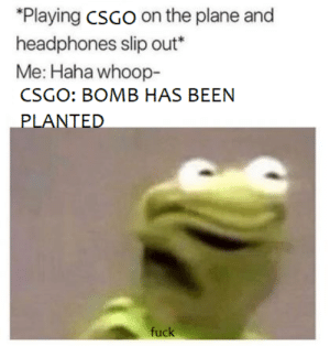 csgo: Playing csGo on the plane and  headphones slip out*  Me: Haha whoop-  CSGO: BOMB HAS BEEN  LANTED  1 )  fuck