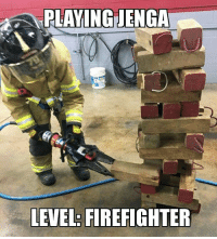 Because who doesn't want to play jenga with extraction tools! photocredit goes to @triathlegeek with Doylestown fire company who were training using the jaws of life. Give him a follow!!: PLAYING ENGA  LEVEL: FIREFIGHTER Because who doesn't want to play jenga with extraction tools! photocredit goes to @triathlegeek with Doylestown fire company who were training using the jaws of life. Give him a follow!!