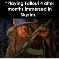 """Fallout 4, Memes, and Fallout: """"Playing Fallout 4 after  months immersed in  Skyrim."""" (y) Games Rock My World"""