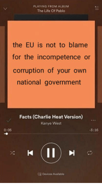"""""""facts"""" book meme revisited: PLAYING FROM ALBUM  The Life Of Pablo  the EU is not to blame  for the incompetence or  corruption of your own  national government  Facts (Charlie Heat Version)  Kanye West  0:05  3:16  Cg Devices Available """"facts"""" book meme revisited"""
