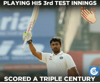 Karun Nair - The only Indian other than Virender Sehwag to get to the mark.: PLAYING HIS 3rd TEST INNINGS  Stan  SCORED A TRIPLE CENTURY Karun Nair - The only Indian other than Virender Sehwag to get to the mark.