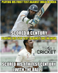 England, Memes, and Troll: PLAYING HIS FIRST TEST AGAINST INDIAIN INDIA  SCORED A CENTURY  PLAVING HIS5TH TEST AGAINST ENGIN INDIA  TROLL  CRICKET  SCORED HIS ATH TEST CENTURY  WITH THE BALLI This is for the 4th time ashwin has conceded more than 100 runs in an inning against england in india :)  <finisher>