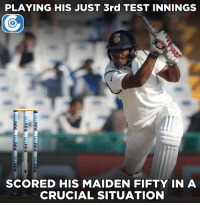 Jayant Yadav scored his maiden Test fifty.: PLAYING HIS JUST 3rd TEST INNINGS  SCORED HIS MAIDEN FIFTY IN A  CRUCIAL SITUATION Jayant Yadav scored his maiden Test fifty.