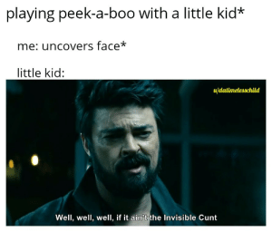 Language!: playing peek-a-boo with a little kid*  me: uncovers face*  little kid:  u/datimelesschild  Well, well, well, if it ain't the Invisible Cunt Language!