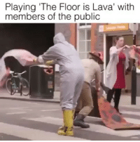 "Remember playing this as a kid?😏 that would be fun as hell, people in suits and stuff😆🙌love it Tag a friend Follow us @laugh.r.us: Playing ""The Floor is Lava' with  members of the public Remember playing this as a kid?😏 that would be fun as hell, people in suits and stuff😆🙌love it Tag a friend Follow us @laugh.r.us"