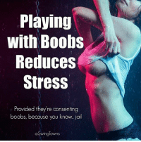 Boobs: Playing  with Boobs  Reduces  Stress  Provided they're consenting  boobs, because you know lall  @Swinglowns