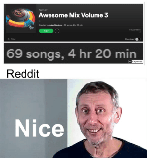 69? Oh man: PLAYLIST  Awesome Mix Volume 3  Created by malachijadenw 69 songs, 4 hr 20 min  FOLLOWERS  PLAY  2  Q Filter  Download  69 songs, 4 hr 20 min  PS Express  Reddit  Nice 69? Oh man