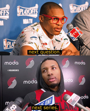 Memes, Damian Lillard, and Thank You: PLAYOFES  FFS  next question.  moda  moda  @NBAMEMES  moda  next series  .เชี  . Damian Lillard says thank you next. https://t.co/Qth0dENKBR