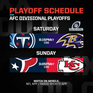 #Titans vs. #RavensFlock #WeAreTexans vs. #ChiefsKingdom  The AFC Divisional Round matchups are set! #NFLPlayoffs #WeReady https://t.co/jh4ySDxBDo: PLAYOFF SCHEDULE  AFC DIVISIONAL PLAYOFFS  SATURDAY  DIVISIONAL  (T)  8:15PMET  CBS  SUNDAY  3:05PMET  CBS  WATCH ON MOBILE:  NFL APP I YAH0O SPORTS APP #Titans vs. #RavensFlock #WeAreTexans vs. #ChiefsKingdom  The AFC Divisional Round matchups are set! #NFLPlayoffs #WeReady https://t.co/jh4ySDxBDo