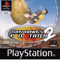 PlayStation, Activision, and Campbell: PlayStation  PAL  TOnYHAWKS  P o TATER  ACTIVISİON.  CAMPBELL GLIFBERG KOSTON  PlayStation  (R