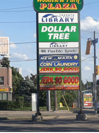 Library: PLAZA  TORONT O  PUBLIC  LIBRARY  DOLLAR  TREE  TORONTO  LIBRARY  Mt Pueblo Tinda  NEWMARK  7 DAY DRY CLGANNG DEPOT  COIN LAUNDRY  JERK SO GOO  CARIBBEAN FAMILY RESTAURANT  CARIBBEAN FAMILY RESTAURANT  416-745-5561 www.jerksogood.ca  neke T  49