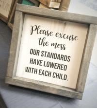 True, How, and Mess: Plcase excusc  the mess  OUR STANDARDS  HAVE LOWERED  WITH EACH CHILD Oh how true this is.