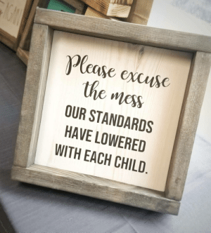 Funny, True, and How: Plcase excusc  the mess  OUR STANDARDS  HAVE LOWERED  WITH EACH CHILD Oh how true this is. via /r/funny https://ift.tt/2Fj3vzp