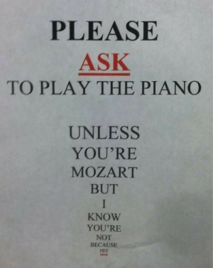 Because Hes: PLEASE  ASK  TO PLAY THE PIANO  UNLESS  YOU'RE  MOZART  BUT  I  KNOW  YOU'RE  NOT  BECAUSE  HES