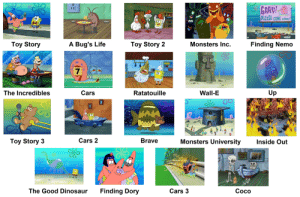 Pixar Films According to Spongebob: PLEaSE COME HOME  Toy Story  A Bug's Life  Toy Story 2  Monsters Inc.  Finding Nemo  7  The Incredibles  Cars  Ratatouille  Wall-E  Up  Toy Story3  Cars 2  Brave  Monsters University  Inside Ouf  OS  The Good Dinosaur  Finding Dory  Cars 3  Coco Pixar Films According to Spongebob