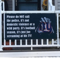 Football, Nfl, and Party: Please do NOT call  the police, il's not  domestic violence or a  wild party. I's football  season, it's just Joe  screaming at his TV! I'd be screaming at my TV too if I were a Giants fan 😂