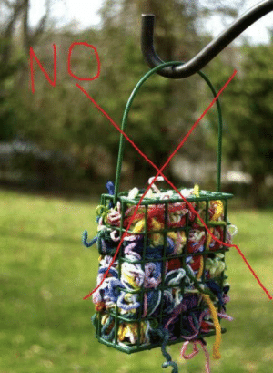 Laundry, Memes, and Spanish: Please DO NOT offer yarn, string or human hair for birds to build nests! Every year St. Francis Wildlife receives wild birds, both babies and adults, with this material wrapped around their feet.  It can sometimes result in the bird losing its foot or entire leg from the yarn/string/hair slowly tightening and cutting off circulation .    DO NOT offer laundry dryer lint either. The lint collected in your dryer filter may seem like ideal nesting material, but it isn't. It will soak up water and may be steeped with chemicals unhealthy for birds, such as remnants of detergent and softener.  Also a warning about offering pet fur. If your pets are treated with flea/tick/lice treatments which stay on the fur, this can be harmful to birds collecting it for nesting material.  DO NOT offer pet hair that has been exposed to any chemicals.  (Thanks to Wildlife Rescue Nests for the photo and above text.)  Birds have plenty of natural materials for nest building: twigs, dried leaves, grass and flower stems, pine straw, shed snake skins, Spanish moss, lichen, etc. Thank you!