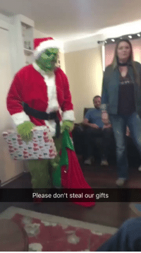 Funny, The Grinch, and Got: Please don't steal our gifts They got the grinch to come and  LOOK AT HIS REACTION 😂 https://t.co/tboNTBFkAs