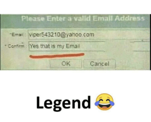 Email, Yahoo, and yahoo.com: Please Enter a valld Email Address  Email: viper543210@yahoo.com  Confirm Yes that is my Emall  OK  Cancel  Legend Legend