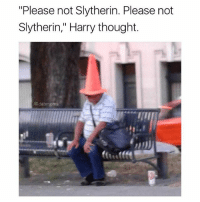"""Memes, Slytherin, and House: """"Please not Slytherin. Please not  Slytherin,"""" Harry thought.  @dabmoms What hogwarts house is this guy getting sorted into?"""