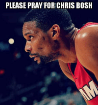 Prayers go out to Chris Bosh.   Bosh is suffering what is suspected to be a pulmonary embolism — a condition in which an arterty in the lungs becomes clogged when a blood clot breaks off and travels to the lungs. It can be a life-threatening issue if not treated quickly by blood thinners.  #miamiheat #nba #weareallfamily: PLEASE PRAY FOR! CHRIS BOSH Prayers go out to Chris Bosh.   Bosh is suffering what is suspected to be a pulmonary embolism — a condition in which an arterty in the lungs becomes clogged when a blood clot breaks off and travels to the lungs. It can be a life-threatening issue if not treated quickly by blood thinners.  #miamiheat #nba #weareallfamily