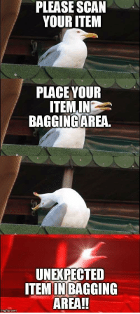 "<p>Every God damm time via /r/memes <a href=""http://ift.tt/2D0mfy9"">http://ift.tt/2D0mfy9</a></p>: PLEASE SCAN  YOUR ITEM  PLACE YOUR  ITEMIN  BAGGINGAREA.  UNEXPECTED  ITEM INBAGGING  AREA!!  imgflip com <p>Every God damm time via /r/memes <a href=""http://ift.tt/2D0mfy9"">http://ift.tt/2D0mfy9</a></p>"