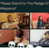 """Memes, 🤖, and Stands For: """"Please Stand For The Pledge Of  Allegiance""""  SWIPE TO SEE MORE People like this irritate me💀💀💀"""