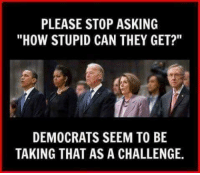 """PLEASE STOP ASKING  """"HOW STUPID CAN THEY GET?""""  DEMOCRATS SEEM TO BE  TAKING THAT AS A CHALLENGE. ~ Hollie"""