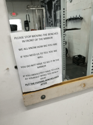 Gym, Mirror, and How: PLEASE STOP MOVING THE BENCHES  IN FRONT OF THE MIRROR  WE ALL KNOW HOW BIG YOU ARE  IF YOU NEED US TO TELL YOU WE  WILL  YOU DO NOT HAVE TO SEE IT IN THE  MIRROR  IF YOU ABSOLUTELY HAVE TO LOOK  AT YOURSELF WHILE YOU BENCH  30LBS  PUT T  HEFUCKİNGBENCHESBACK  AFTER This sign at my gym