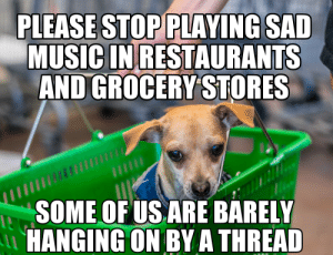 Lean, Love, and Music: PLEASE STOP PLAYING SAD  MUSIC IN RESTAURANTS  AND GROCERY STORES  SOME OF US ARE BARELY  HANGING ON BYA THREAD I don't need to hear a wistful, bittersweet ballad about lost love while I'm buying my Lean Cuisine.