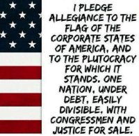 Memes, Thug, and Justice: PLEDGE  ALLEGIANCE TO THE  FLAG OF THE  CORPORATE STATES  OF AMERICA, AND  TO THE PLUTOCRACY  FOR WHICH IT  STANDS, ONE  NATION, UNDER  DEBT, EASILY  DIVISIBLE, WITH  CONGRESSMEN AND  JUSTICE FOR SALE. Image from Union Thugs