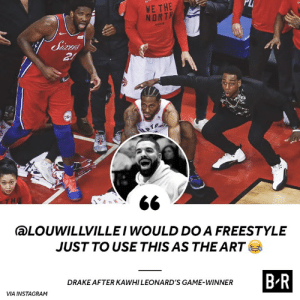 Kawhi's game winner has Drake ready to drop a classic: PLI  WE THE  NORT  aLOUWILLVILLEI WOULD DO A FREESTYLE  JUSTTO USE THIS AS THE ART  B-R  DRAKE AFTER KAWHI LEONARD'S GAME-WINNER  VIA INSTAGRAM Kawhi's game winner has Drake ready to drop a classic