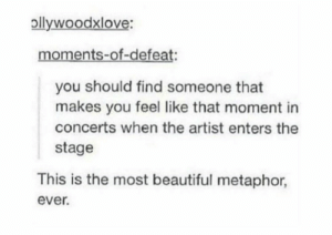 ✧ @ironyisokay: pllywoodxlove:  moments-of-defeat:  you should find someone that  makes you feel like that moment in  concerts when the artist enters the  stage  This is the most beautiful metaphor,  ever. ✧ @ironyisokay