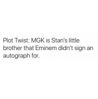 Eminem, Memes, and Mgk: Plot Twist: MGK is Stan's little  brother that Eminem didn't sign an  autograph for. Swipe to the video at the end tho..😂😂😂😂