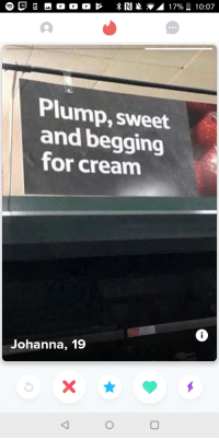 Girl, Cream, and Tesco: Plump, sweet  and begging  for cream  Johanna, 19 This tesco girl knows herself well