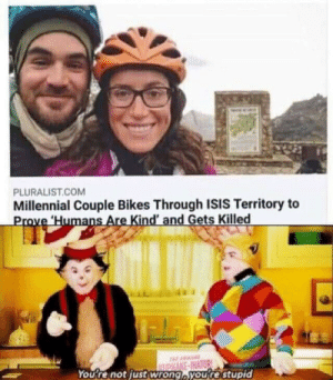 You wrong by notsofattyboi MORE MEMES: PLURALIST.COM  Millennial Couple Bikes Through ISIS Territory to  Prove Humans Are Kind' and Gets Killed  AA  ASAKE-INATOR  You're not justwrong,you're stupid You wrong by notsofattyboi MORE MEMES
