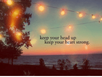 keep your head up: plusaday.  keep your head up  keep your heart strong.