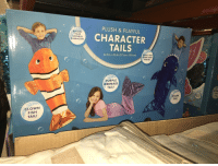 Love, Shark, and Fish: PLUSH & PLAYFUL  BECOME  YOUR  FAVORITE  CHARACTER  CHARACTER  TAILS  22.5 in. x 55 in. (57 cm x 139 cm)  GREAT FOR  HOME AND  TRAVEL!  PURPLE  MERMAID  TAIL!  CLOW  FISH  TAIL!  erl  SHARK  TAIL!  CLOWN  FISH  TAIL!