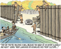"Memes, 🤖, and Rock: PLyMOUTH  ROCK  ""THey CAy THEy'RE BUILDING A WALL BECAUSE TOO MANY OF US ENTER ILLEGALLY  AND WON'T LEARN THEIR LANGUAGE OR ASSIMILATE INTO THEIR CULTURE,... fb.com/unitedhumanists - #thanksgiving"