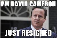 Brexit vote leads to British PM David Cameron to resign: PM DAVID CAMERON  JUST RESIGNED  made on imgur Brexit vote leads to British PM David Cameron to resign