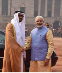 PM Shri Narendra Modi and HH Mohamed bin Zayed Al Nahyan during the ceremonial welcome in New Delhi today.: PM Shri Narendra Modi and HH Mohamed bin Zayed Al Nahyan during the ceremonial welcome in New Delhi today.