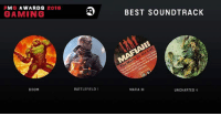 PMG AWARDS  2016  GAMING  DOOM  BATTLEFIELD  1  BEST SOUNDTRACK  MAFIA  III  UNCHARTED 4 PMG AWARDS 2016 COMMENT YOUR LEAST FAVORITE GAME. THE GAME WITH THE MOST VOTES WILL BE ELMINATED.  BEST SOUNDTRACK  Doom Battlefield 1 Mafia III  Uncharted 4: A Thiefs End