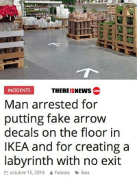 Fabiola: PMII  THEREISNEWs co  INCIDENTS  Man arrested for  putting fake arrow  decals on the floor in  IKEA and for creating a  labvrinth with no exit  octubre 15, 2018  Fabiola  %> ikea