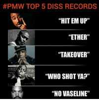 """facts Thoughts? 🤔:  #PMW TOP 5 DISS RECORDS  """"HIT EM UP'""""  """"ETHER""""  """"TAKEOVER""""  """"WHO SHOT YA?""""  """"NO VASELINE"""" facts Thoughts? 🤔"""