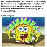 """Memes, History, and Trump: POC: White privilege is real and race is not something  to sweep under the rug for the sake of """"unity"""". Not  being honest with ourselves as Americans with a  tumultuous history of race relations literally got us  Trump as POTUS.  White pee pole:  yung_nihilist By @yung_nihilist"""