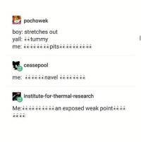 navel: pochowek  boy: stretches out  yall  tummy  me: SS SSS SS pits SSS SSS  ceasepool  me: navel SS  institute-for-thermal-research  Me  an exposed weak point