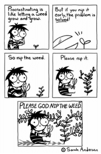 God, Memes, and Wee: Pocrastinating isBut if  like letting a weedearly the problem is  grow and grow  you nip it  Solved!  92  So mip the weed. Please nię it  o nip the wee  PLEASE GOD NIP THE WEED  O Sarah Andersen