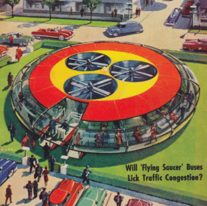 scifiseries:  Those Zany 50's: Pode  Will 'Flying Saucer' Buses  Lick Traffic Congestion? scifiseries:  Those Zany 50's