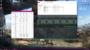 "Clock, Heaven, and Jurassic World: PoE  Overclocking  Manage  Manage  Path of Exile  Hellblade  PGSX2  Overclocking  Discord  This PC  Diablo III  File  Home  Share  View  Shortcut Tools  Application Tools  Senua's...  Search Overclocking  Overclocking>  1732-06  НOME  Date modified  Size  Name  Туре  tQuick access  CPU-Z  File folder  6/1/2019 7:29 PM  PCSX2 1.4.0 Malwareby..  IGUE  Recycle Bin  GPU PROFIL47 °*  MEM  CPU  CPU  CPU  CPU  CPU  Downloads  Prime 95  6/1/2019 6:07 PM  File folder  405 MH2  Documents  AMD Ryzen Master  PCPUID HWMonitor  xEVGA Precision X1  FurMark  З КВ  3/22/2019 3:10 PM  Shortcut  38KK C  4200 MHa  4200 MH  4200 MH  4200 MH  4200MHz  4200 MH2  2867 MB  23 FPS  Pictures  1 КВ  3/24/2019 7:42 AM  Shortcut  3/24/2019 8:27 PM  Shortcut  1 KB  This PC  Wolfenstein  2 KB  6/2/2019 5:16 PM  Shortcut  The New..  Network  GeForce Experience  Shortcut  3/22/2019 1:03 PM  2 KB  Heaven Benchmark 4.0  З КВ  3/22/2019 12:30 PM  Shortcut  CPUID HWMonitor  X  iCUE  MSI Afterburner  3/24/2019 10:28 AM  Shortcut  2 KB  1 KB  4/7/2019 3:14 PM  Shortcut  Tools Help  File View  Sensor  Value  Min  Max  VID #2  1.362  1.350 V  1.362  VID #3  1.362  1.356 V  1.362  VID #4  1.362 V  1.350 V  1.362 W  RYZEN MASTER  VID #5  1.362 V  1.350 V  1.362  Temperatures  Package (Node 0)  your CPU-AMD Ryzen 5 2600X Six-Core Processor  37 ""C (99 ""F)  ?Help  BSettings  37 ""C (99 F  54 °C (128 F)  Apply  Apply & Test  Discard  E Powers  CMS  18  Temperature  Peak Speed  PPT (СPU)  TDC (CPU)  EDC (CPU)  PTC (CPU)  Package  29.59 W  28.32 W  38.29 W  ure, Speed,  Core #0  1.51 W  1.40 W  3,64 W  37.75 °C  4.200 GHz  Core #1  1.00 W  0.72 W  1.46 W  Car  PC Building  Simulator  Mechan...  0.58 W  Core #2  0.30 W  1.22 W  6  Core #3  0.87 W  0.16 W  1.82 W  Core #4  1,02 W  0.47 W  3.38 W  Core #5  0.87 W  0.63 W  2.94 W  C  z)  7,76 W  Cores  5.31 W  5.02 W  rCurrents  4200  4200  4200  4200  4200  4200  Cores  CPU (Node 0)  15.59 A  15.59 A  32,22 A  CCX 1 Cores  CCX 2 Cores  E Utilization  CPU Voltage  0%  3 %  Processor  1%  ntrol (V)  1.375  1%  CPU #0  3 %  13 %  0%  CPU #1  0%  7 %  RED RO  Manual  Auto  Precision Boost Overdrive  3 %  0%  CPU #2  14%  CPU #3  0%  0 %  1%  PPT  EDC  0%  6 %  CPU #4  0 %  125  CPU #5  1%  0%  1%  1%  0%  1%  CPU #6  Jurassic  World E  The Sims 4  Cities  Memory Access Mode  Simultaneous Multithreading  OFF ON  0%  0%  1%  CPU #7  Skylines  Control  3 %  6%  CPU #8  1 %  Legacy Compati bility Mode  NA  Dynamic Local Mode  NA  CPU #9  0%  6%  0%  0%  CPU #10  0%  1%  0%  0 %  9 %  CPU #11  Memory Clock (MHz)  Northgard  One Troll  Stellaris  EuClocks  Army  Core #0  4189 MHz  4191 MHz  4192 MHz  CAS Latency  Row Precharge Delay  RAS Active Time  Read Row-Column Delay  Core #1  4191 MHz  4189 MHz  4192 MHz  8 bus clocks  21 bus clocks  8 bus clocks  8 bus clocks  ntrol  Core #2  4191 MHz  4189 MHz  4192 MHz  Write Row-Column Delav  CPU On-Die Termination  CAS Write Latency  Row Cycle Time  Core #3  4191 MHz  4189 MHz  4192 MHz  29 bus clocks  8 bus clocks  Hi Impedance  9 bus clocks  Core #4  4191 MHz  4189 MHz  4192 MHz  Age of  Wonders II  StarCraft  Frostpunk  MEM VDDIO  MEM VTT  VDDCR SOC  4189 MHz  Core #5  4191 MHz  4192 MHz  ErG.Skill F4-3200C14-8GVK  Ready  NA  [ 17:31:56 Fri, 14 Jun ]  Game Mode Apply & Stress Test: Success  Creator Mode  Profile 2  Import/Export  Current  Game Mode  Profile 1  Save Profile  Reset Profile  Copy Current  5:32 PM  EPIC  A  6/14/2019 People were asking me for my OC settings over on Buildapcsales."