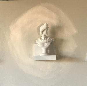 Roommate, Target, and Tumblr: poetic-kemetic:The sun coming in our window this afternoon bounced off of my roommate's circular mirror and across the room, landing directly on the wall where my statue of Apollo is ☀️